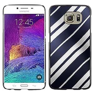 TopCaseStore / la caja del caucho duro de la cubierta de protección de la piel - White Lines Shiny Blue Pattern Wave - Samsung Galaxy S6 SM-G920