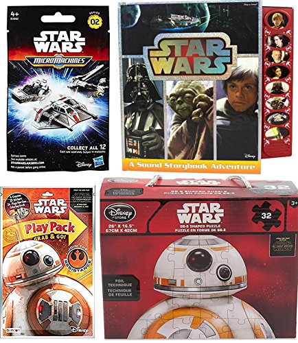 BB-8 Jigsaw Star Wars The Force Awakens Micro Machines Blind Bag Pack + Star Wars Droid BB8 Puzzle character & BB8 Force Awakens Set Action Play Pack + Saga Play A Sound Storybook Adventure Book