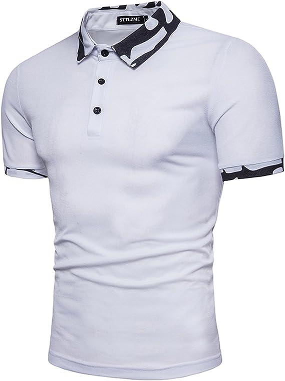 STTLZMC Polo para Hombre Manga Corta Camuflaje Collar Camisa Golf ...