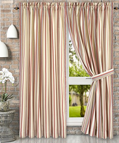 Ellis Curtain Mason Multi Colored Stripe (Tailored Panel Pair with Tiebacks, 90 x 63