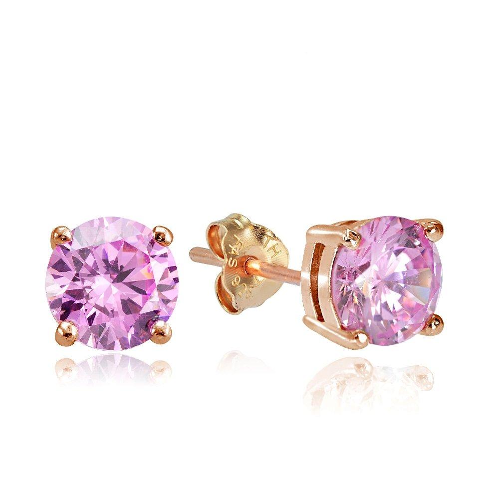 Hoops & Loops Rose Gold Flash Sterling Silver 3ct Pink Cubic Zirconia 7mm Round Stud Earrings