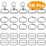 Paxcoo 50Pcs Keychain Bulk with Key Chain Swivel Hook D Rings and Slide Buckles for Handbag Purse Hardware Craft