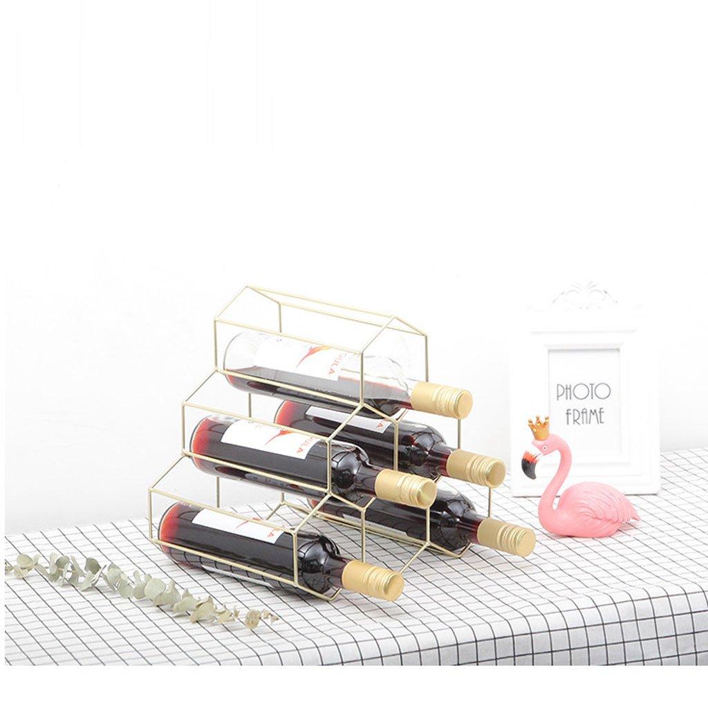 ZJJ Wine Rack Simple Modern high-end Triangle Iron Rose Gold bar Creative Wine Cabinet Decoration