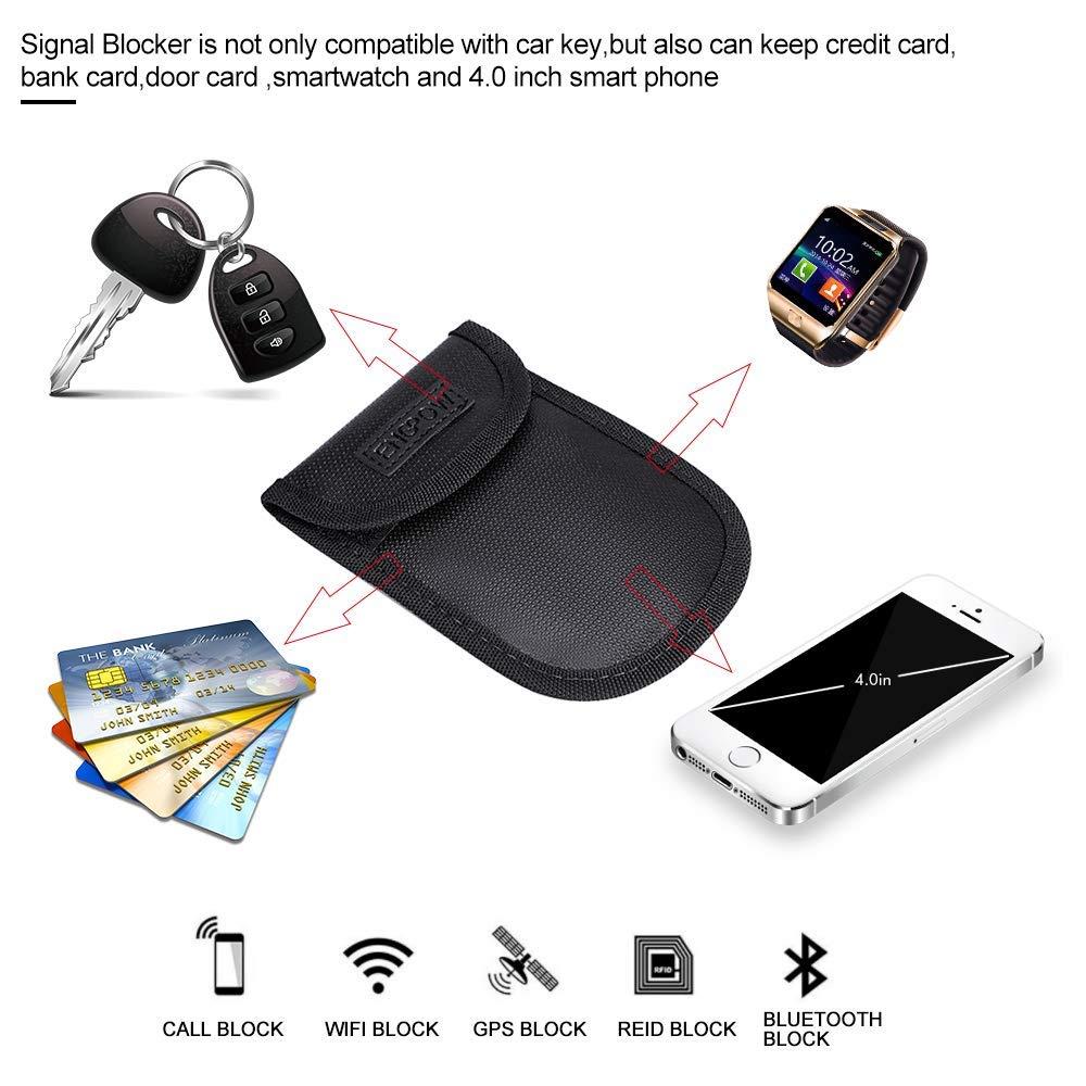Signal Blocker Autoschl/üssel Signalblockierung Beutel,2 St/ück Feuerfest Auto Key Aufbewahrungstasche Faraday Sicherheit WiFi//GSM//LTE//NFC//RFID//Keyless Entry Fob Kreditkarte Handy Privacy Protector