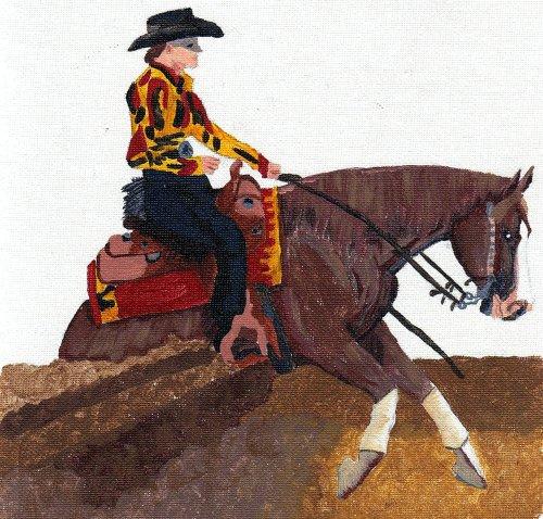 - Quarter Horse Reining Horse Matted Art Print - 5 in x 7 in Design - 8 in x 10 in Matted