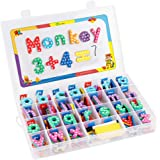D-FantiX Magnetic Letters and Numbers, 209Pcs Foam Magnetic Alphabet Uppercase Lowercase Letters ABC Refrigerator Magnets Blocks Symbols Set with Whiteboard for Classroom Home Educational Spelling