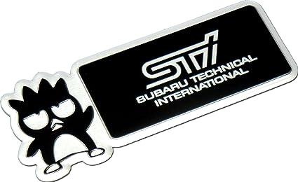 Subaru Technical International STi Bad Badtz Badz Batz Maru Aluminum Emblem Badge Nameplate Emblem Logo Decal