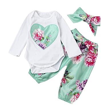 ❤ Mameluco para bebé de Manga Larga, 3 Piezas Niño Bebé Bebés Ropa Floral Set Tops + Pants + Trajes de Diadema Absolute: Amazon.es: Ropa y accesorios