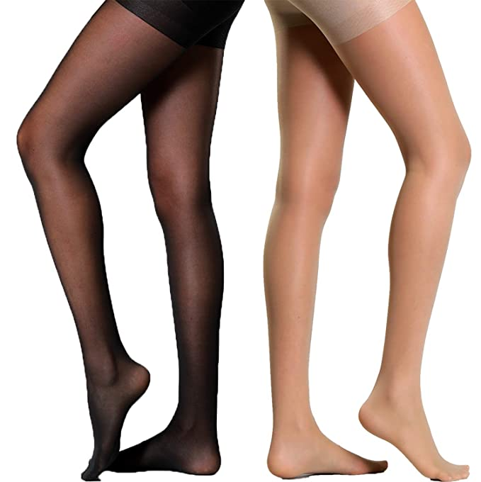 8d17d4c62 Semi Sheer Pantyhose Pantie Crotch Tights Shaping Leg Stockings 2 Pack  (Black+Nude