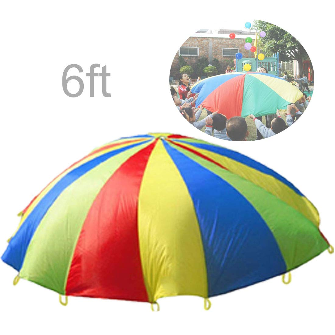 Erlsig 6 Foot Multicolored Play Parachute for Kids with 8 Handles Outdoor Camping Tent Picnic Mat Cooperative Games Birthday Gift with Bags for 3-8 Year Kids