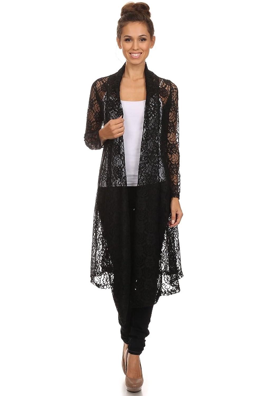 Langarm Maxi Cardigan aus Spitze, Boho Style Strickjacke, Crochet Häkelspitze Brautmantel, Top Blumen-Muster creme - schwarz von Nachtigall+Lerche