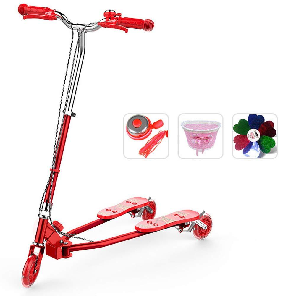 キックボード本体 折りたたみキックスクーター、調節可能ハンドルグリップ、ワイドラージホイール漂流カエルスクーター130cm以上ガール/ボーイ、非電気 (色 : 青) B07KWQ38FH Red Red