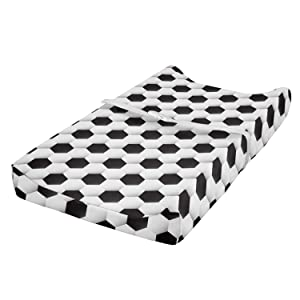 Lunarable Sports Baby Pad Cover, Soccer Ball Vivid Pattern Athletic Sport Themed Geometrical Modern Design, Changing Table Topper Slipcover Soft & Gentle Printed Sheet, White Grey