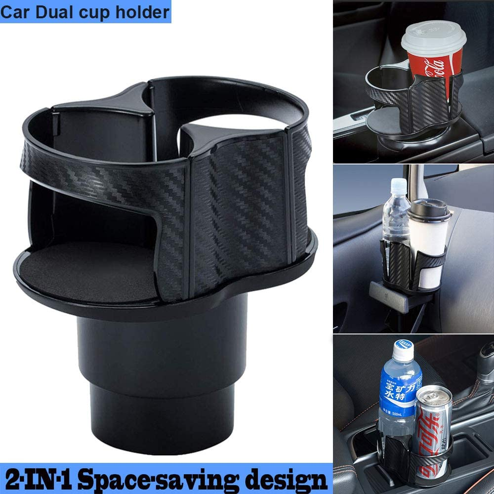 Van/Center/Console Cup/Holder/Expander for Drinks Universal Detachable Multifunctional Vehicle-Mounted 2 In 1 Coffee Cup/Holder/Adapter with 360/°Rotating Adjustable Car Dual Cup Holder Black