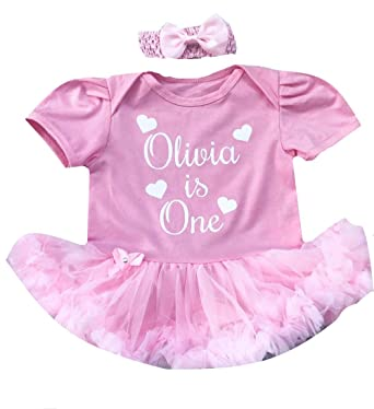 1c2db1bbb Personalised 1st Birthday is One Baby Girl s Light Pink Tutu Romper ...