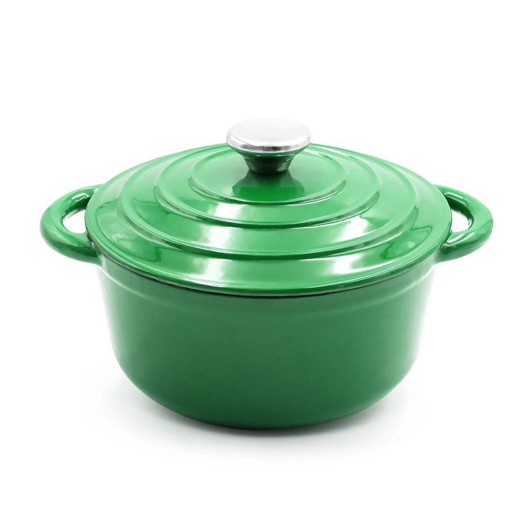 AIDEA Enameled Cast Iron Dutch Oven - 5-Quart Green Round Ceramic Coated Cookware French Oven with Self Basting Lid St.Patrick's Day