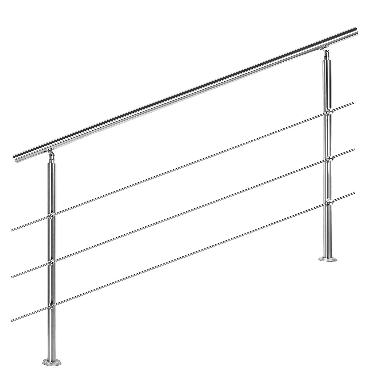 Wiltec Treppengel/änder Edelstahl 3 Querst/äbe 160cm Br/üstung Handlauf Gel/änder Treppe