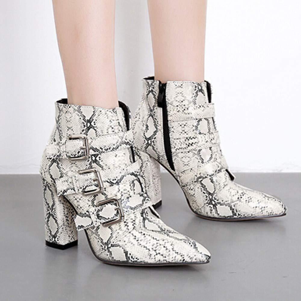 LuckyGirls Botas Zapatos de Tacón para Mujer Patrón de Piel de Serpiente  Leopardo Hebilla Moda Sexy Botitas 9cm  Amazon.es  Deportes y aire libre a8eedb49af090