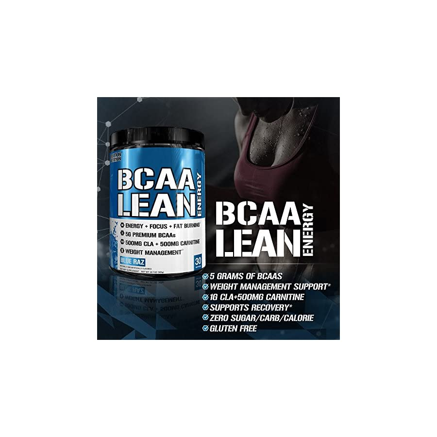 Evlution Nutrition BCAA Lean Energy Energizing Amino Acid for Muscle Building Recovery and Endurance, with a Fat Burning Formula, 30 Servings (Blue Raz)