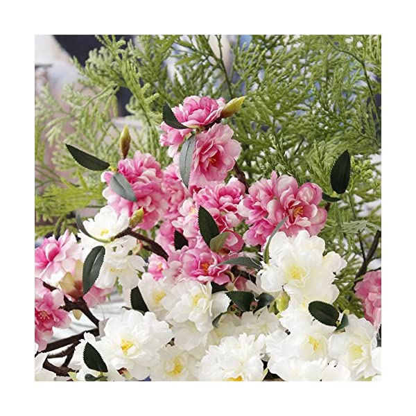 JAROWN 5 Pcs Artificial Silk Cherry Blossom Branch Fake Sakura Plants for Home Crafts Decoration (White)