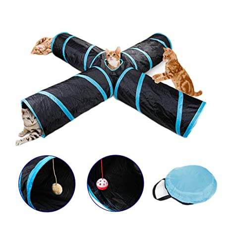 CTlite Túnel Plegable para Gato, Tubo de 4 vías para Gatos, Juguetes para Mascotas