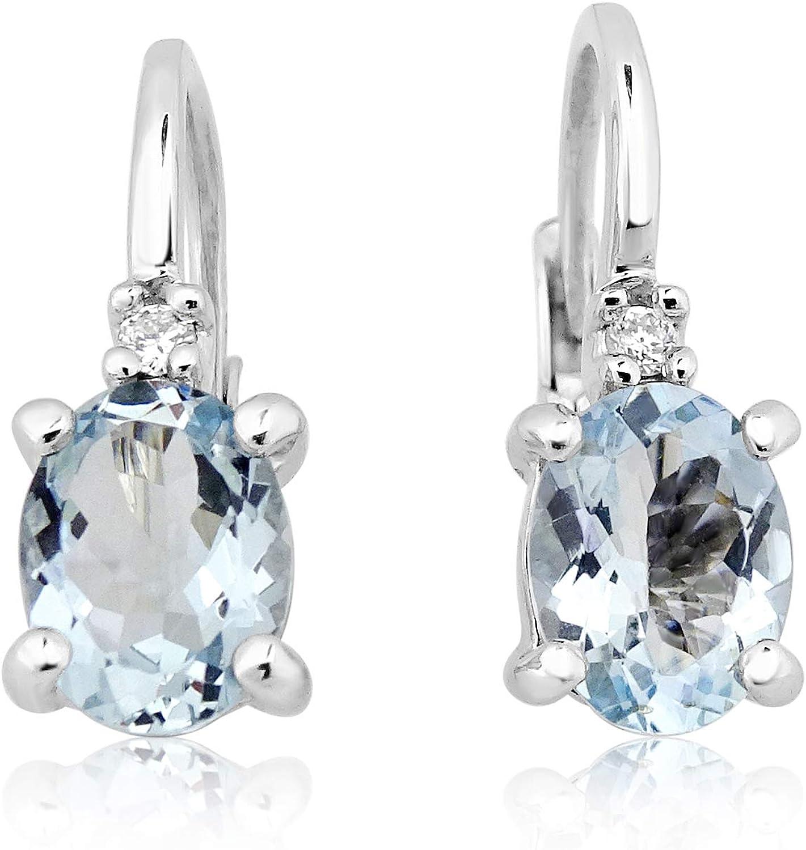 MILLE AMORI ∞ Pendientes Mujer Oro y Diamantes - Oro Blanco 9 Kt 375 ∞ Diamantes 0.03 Kt