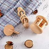 3 Pieces Wooden Rattle Wood Bells Rattles Beech