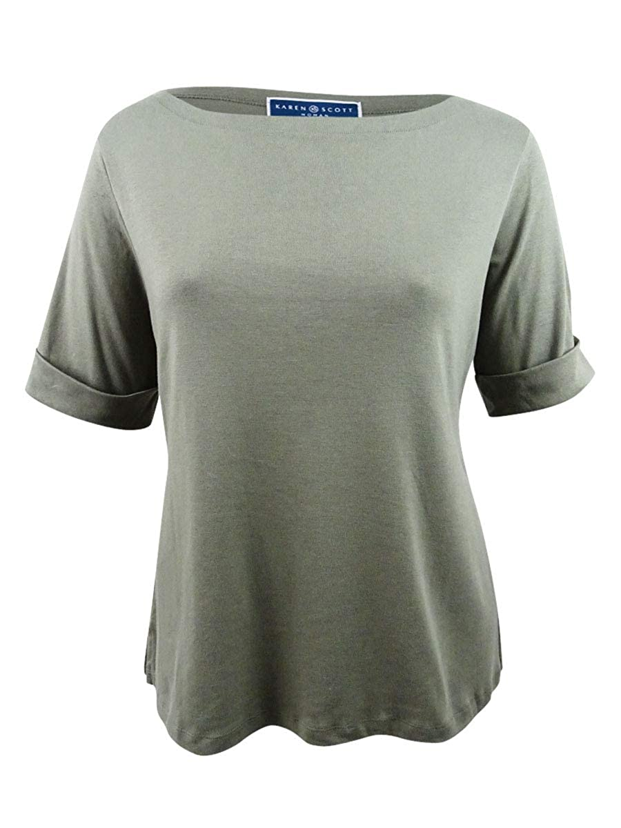 da3ad6f566ca30 Karen Scott Womens Plus Casual Cuffed T-Shirt at Amazon Women's Clothing  store: