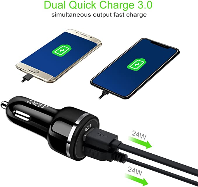 Car Charger,Quick Charge 3.0,48W 6A Dual QC3.0 USB Rapid Car Charger Adapter Compatible for Galaxy S10+ S9 Note10, iPhone 11 Pro XS Max,Pixel 4 3XL ...