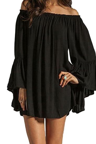 Zilcremo Women Summer Off Shoulder Ruffles Sleeve Tunic Dress
