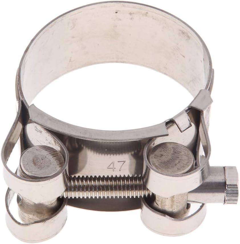 44-47mm H HILABEE 2 Pi/èces Courroie Collier de Suspension pour Silencieux d/Échappement de Moto Pi/èces de R/éparation pour Dia