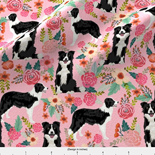 Border Cotton Fabric (Dog Fabric - Border Collie Florals Cute Pink Flowers Dog Florals Print Best Dog Designs Best Dog Prints Cute Border Collies Fabrics by petfriendly - Printed on Basic Cotton Ultra Fabric by the Yard)