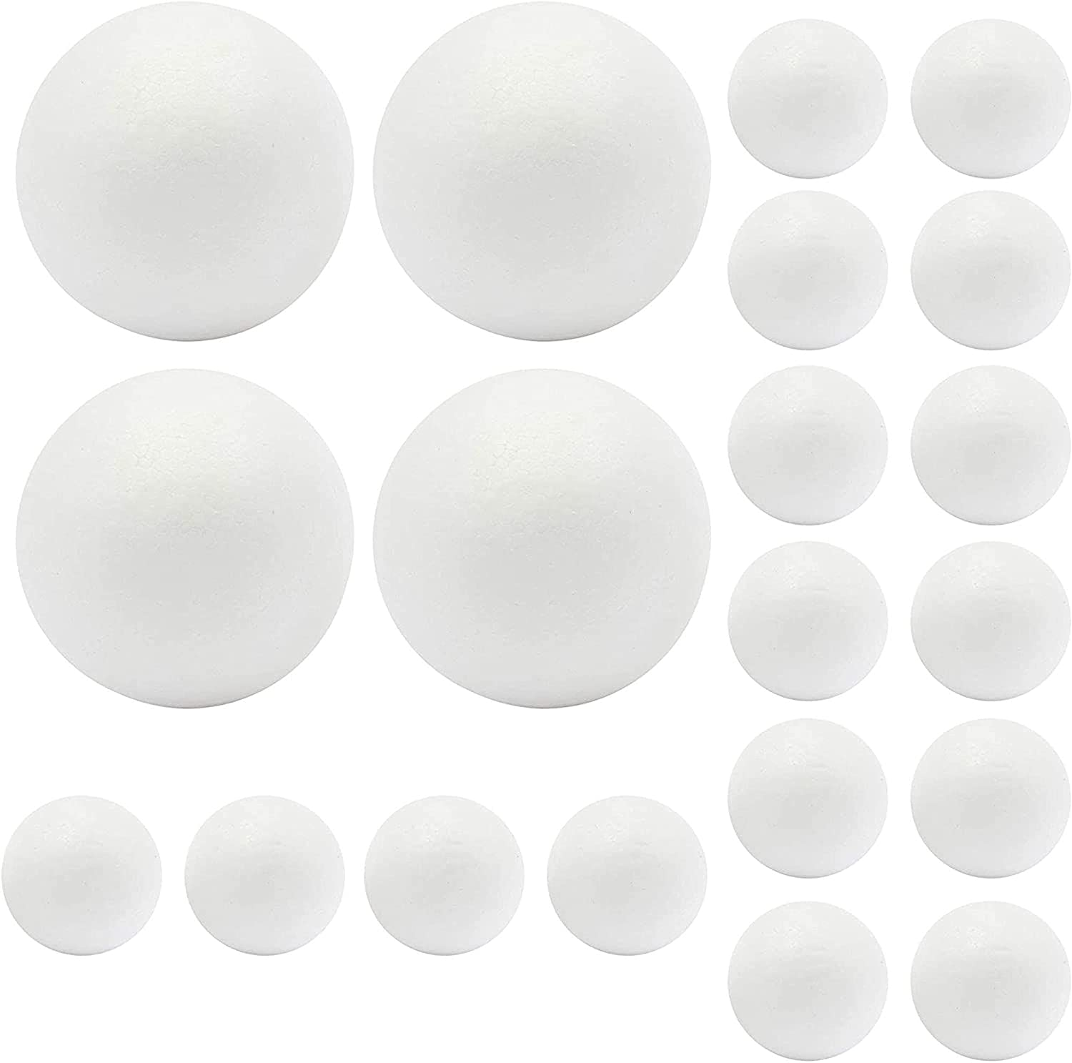 Foam Balls for Arts, DIY Crafts Supplies, Decor (White, 6 in, 3 in, 20 Pack)