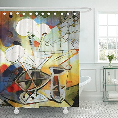 Kandinsky Modern Painting - Emvency Shower Curtain Alternative Reproductions of Famous Paintings by Picasso Applied Abstract Kandinsky Designed in Modern Waterproof Polyester Fabric 72 x 72 inches Set with Hooks
