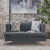 Muraco Mid Century Modern Fabric Loveseat (Dark Grey)