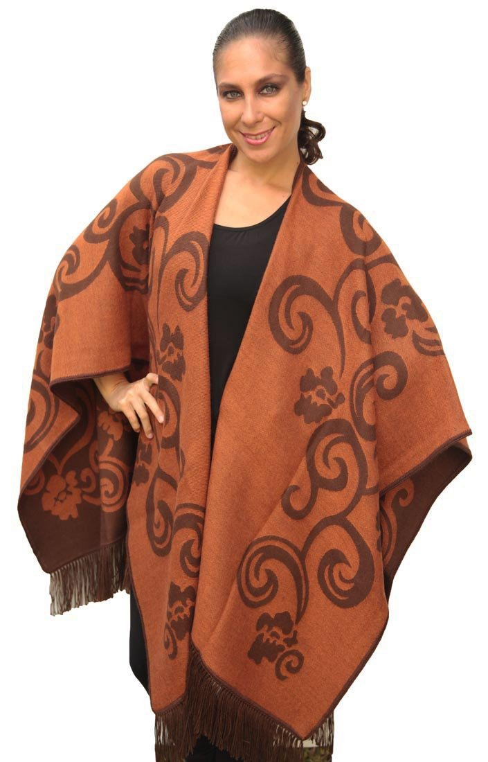 Superfine Reversible Woven Alpaca Wool Cape Ruana Poncho Wrap One Size (Brown/Copper)
