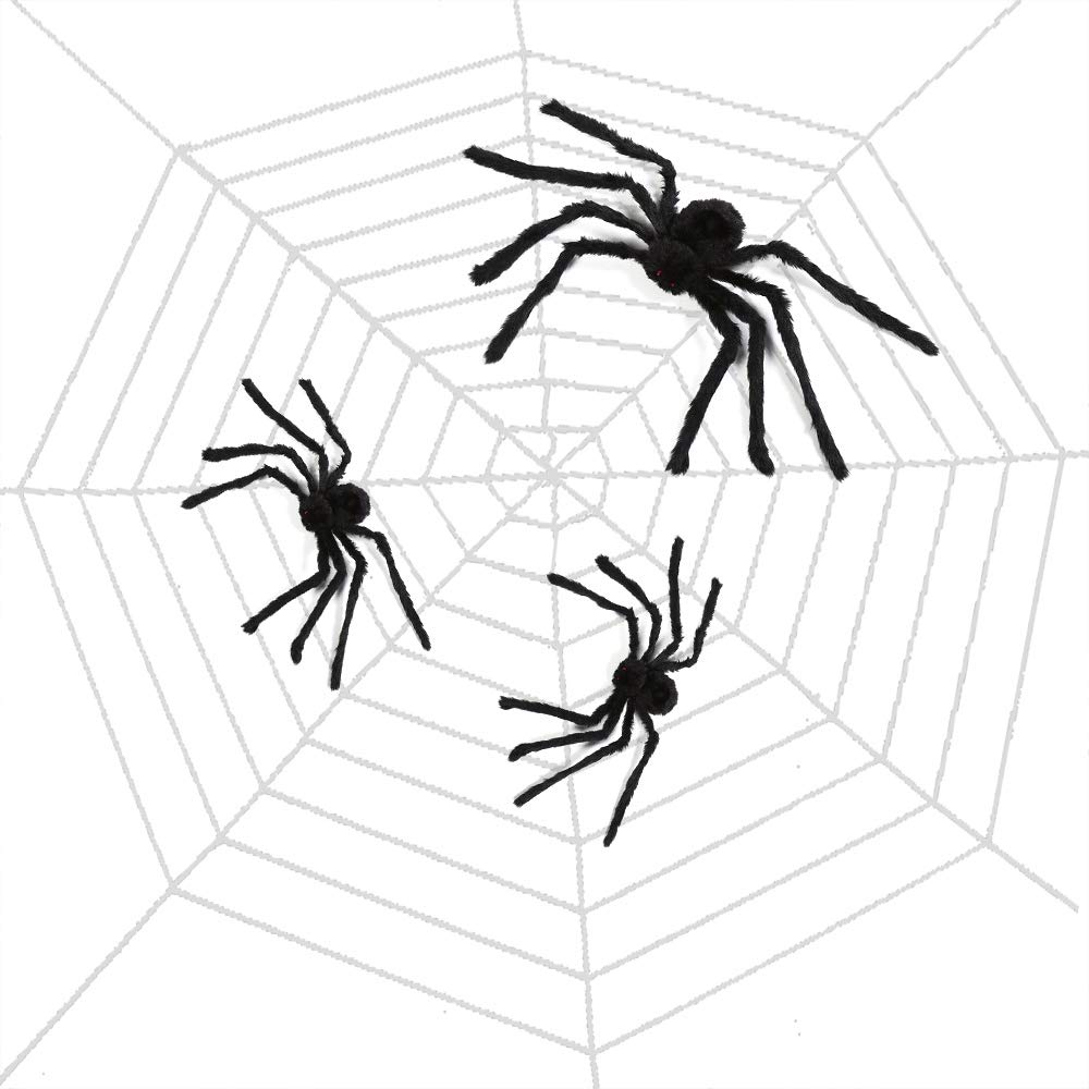 TUPARKA 4Pcs Halloween Spider Decorations Set 3 Pcs Giant Hairy Halloween Spiders with Huge Round 11ft Halloween Spider Web for Halloween Party Decorations Supplies