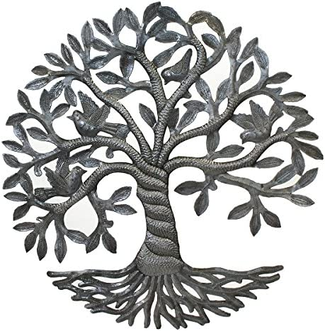 Vineworks Fair Trade from Haiti Celtic Twisted Rooted Tree of Life Haitian Steel Drum Metal Art 17″