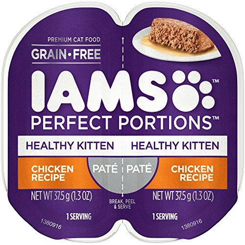 Iams Perfect Portions Grain Free Kitten Wet Food Paté Chicken Recipe, (24) 2.6 Oz. Twin-Pack Trays