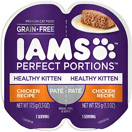 Iams Perfect Portions Grain Free Kitten Wet Food Paté Chicken Recipe, (24) 2.6 Oz. Twin-Pack Trays