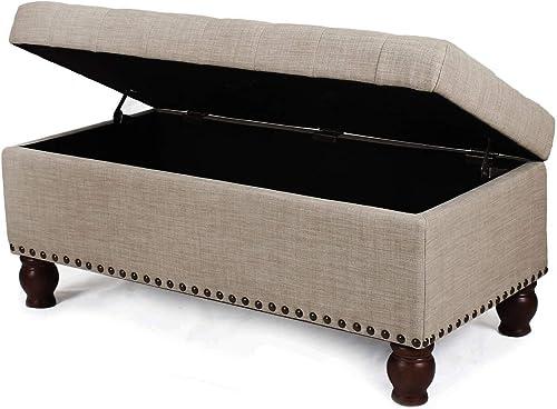 Adeco Fabric Sturdy Design Rectangular Tufted Lift Top Storage Ottoman Bench Footstool