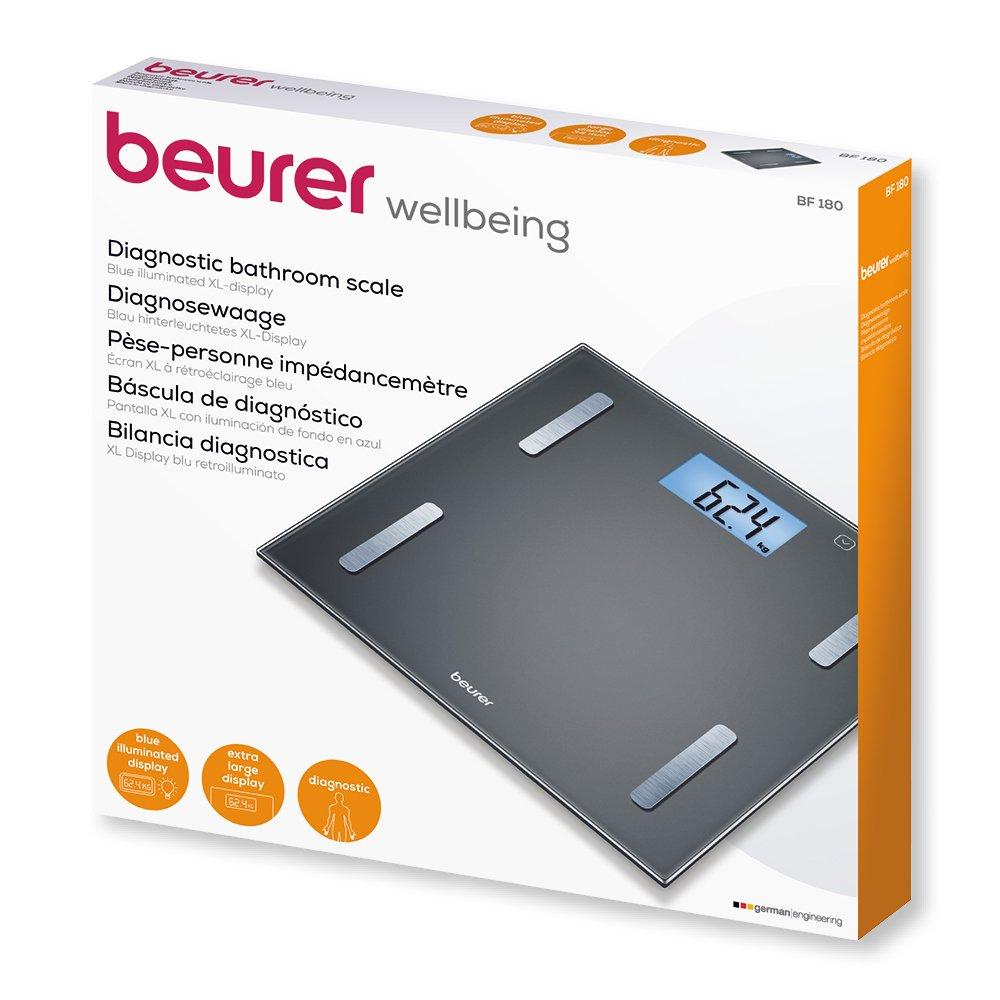 Beurer BF 180 - Bascula digital de vidrio, IMC, LCD XL, 180 kg / 100 gr, apagado automatico, indicador de bateria baja, gran plataforma, color negro: ...