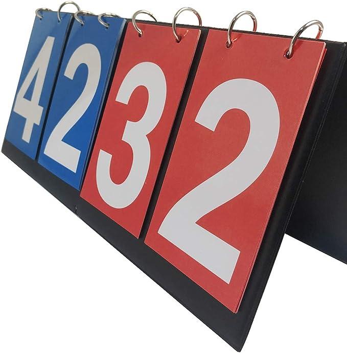 TheStriven 4-Digit Tabellone Sportivo Portatile Impermeabile Flip da Tavolo punteggio numerico segnapunti Tabellone Segnapunti Portatile 4 Cifre Flip Sport Scoreboard Score Counter for Ping-Pong