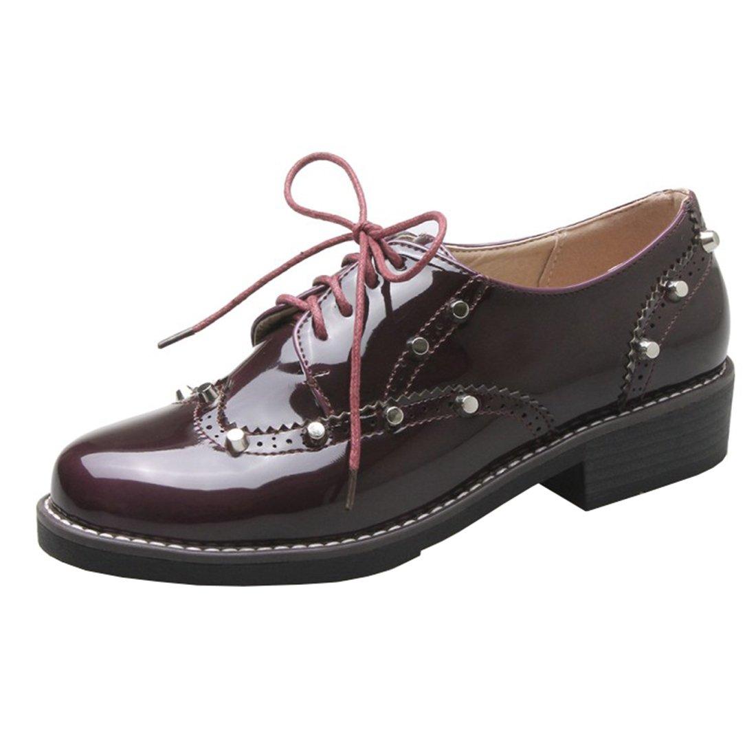 UH Bequeme Damen Flache Heels Lack Pumps mit Schnuuml;rung und Nieten Freizeit Vintage Schuhe37 EU|Rot