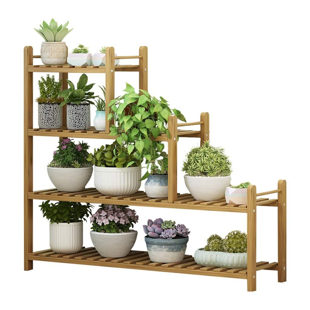 Khkfg 4 Tier Flower Stand-Multi-Layer Bamboo Flower Pot Holder Platz sparen Balkon Dekor Frame39.0x9.8x35.8in