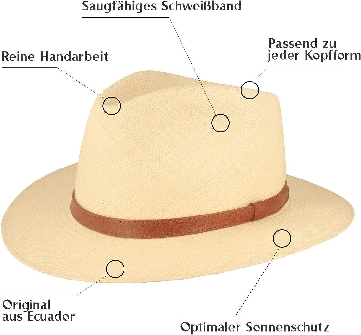 7,5 cm breite Krempe ORIGINAL Panama-Hut Stroh-Hut Sommer-Hut aus Ecuador Traditionell Handgeflochten in Brisa 4 Flechtung Lederband /& Bruchschutz -Wei/ß