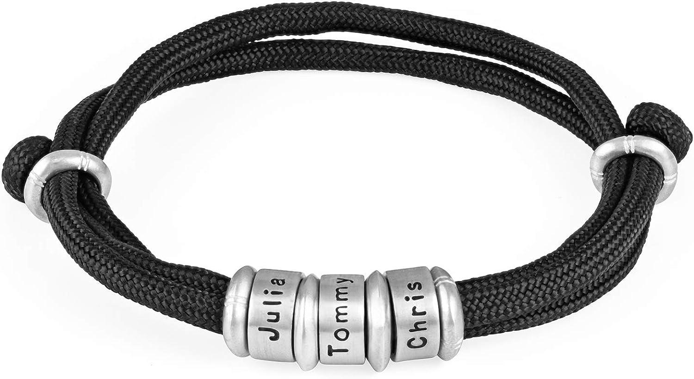 MyNameNecklace Men's Personalized Black Cord Bead Bracelet-Custom Men's Jewelry