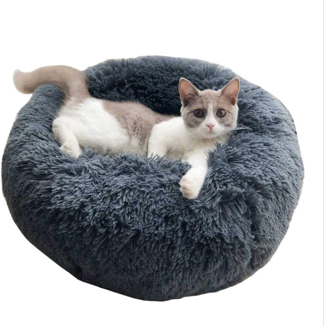 Amazon Com Original Cat And Dog Bed Luxury Shag Fuax Fur Donut Cuddler Round Donut Dog Beds Indoor Pillow Cuddler For Medium Small Dogs L 28288inch Grey Kitchen Dining