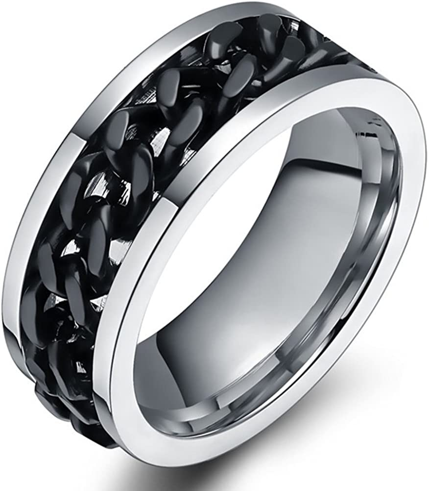 SAINTHERO Mens Wedding Bands Classic 8MM Black Spinner Chains Decor Titanium Steel Promise Rings for Him High Polish Comfort Fit Size 9