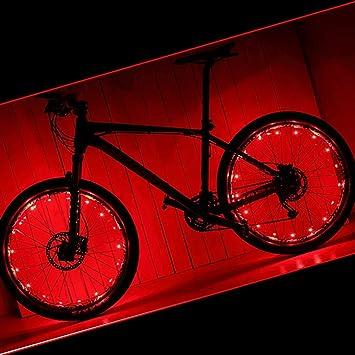 Luces para ruedas de bicicleta, de Pamase. Impermeable. Tira LED 20. Para radios y llantas de bicicleta. 2 paquetes, rojo: Amazon.es: Deportes y aire libre